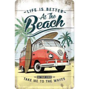 Blechschild 20x30 cm VW Bulli Life is better at the beach