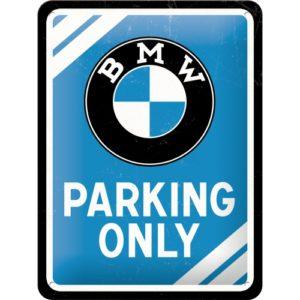 Blechschild 15x20cm BMW Parking Only blau