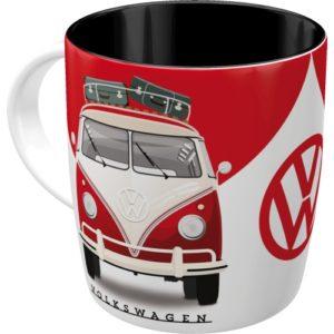 Nostalgischer Becher mit einem VW Bus rot-weiß