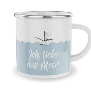 Emaille-Becher Ich liebe das Meer