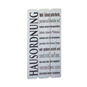 Schild mit Text Hausordnung in Plankenoptik