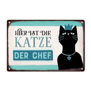 Schild Metall Hier ist die Katze der Chef
