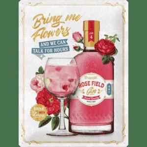 Blechschild 30x40 Pink Gin Flowers