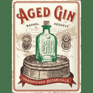 Blechschild 30x40 Aged Gin Barrel