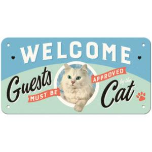 Schild Metall Welcome Cat