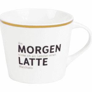 Tasse Porzellan Morgen Latte