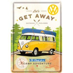 Blechpostkarte VW Let's get away
