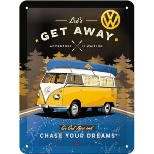 Schild VW Bulli Let's get away