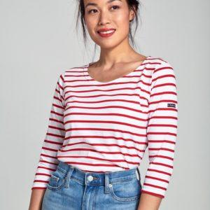 Armor Lux Shirt Weiß Rot 3/4 Ärmel
