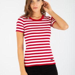 Amor Lux Shirt im Marine Look kurzarm Rot/Weiß